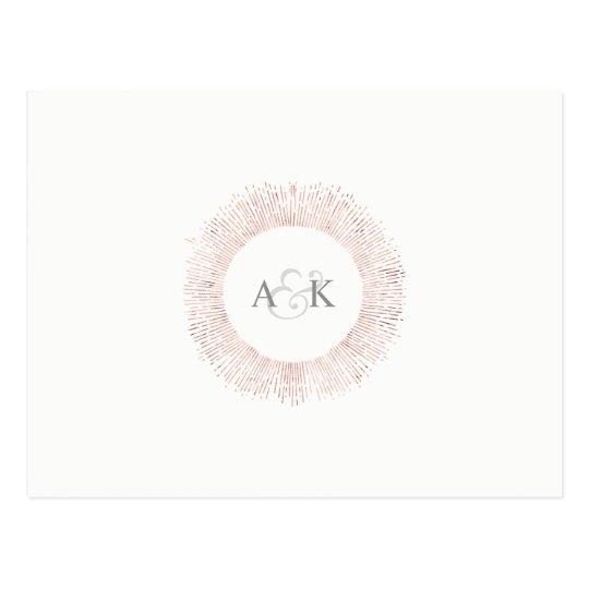 Elegant rose gold monogram save the date postcard