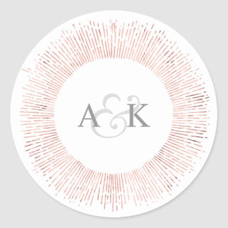 Elegant rose gold monogram wedding favor sticker