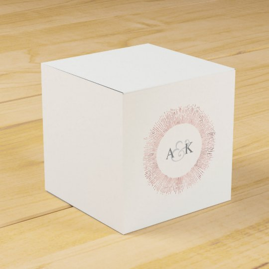 Elegant rose gold monogram wedding favour box