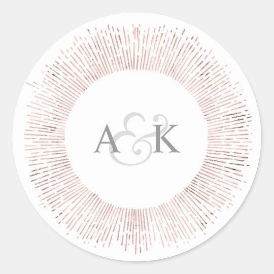 Elegant rose gold monogram wedding favour sticker