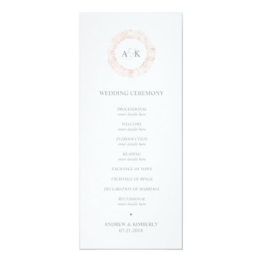 Elegant rose gold monogram wedding program