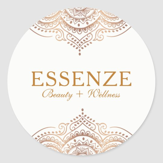 Elegant Rose-Gold Ornate Lace Classic Round Sticker