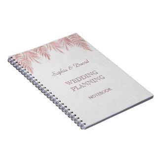 Elegant Rose Gold Palm Leaves Wedding Planner Notebook
