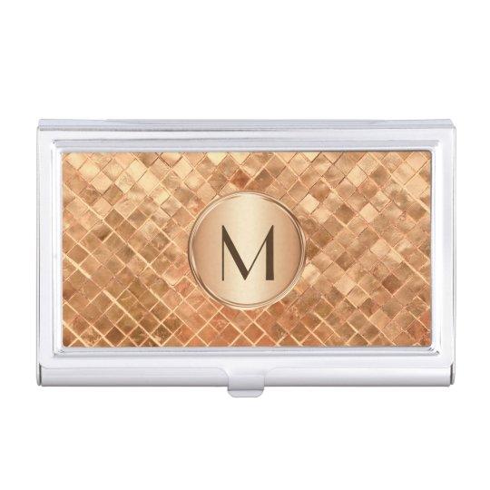 Elegant Rose Gold Pattern with Monogram Business Card