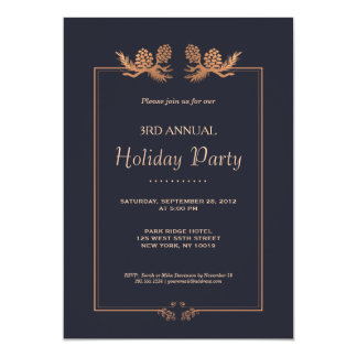 Elegant Rose Gold Pine Cones on Navy Holiday Party Card