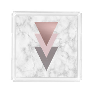 elegant rose gold pink grey triangles white marble acrylic tray