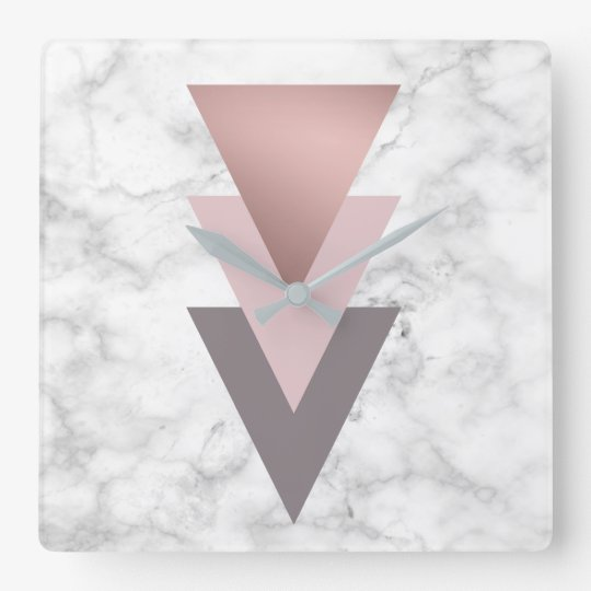 elegant rose gold pink grey triangles white marble