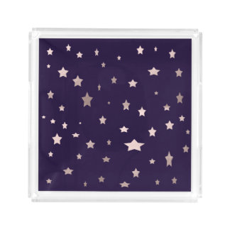 elegant rose gold stars on a purple background acrylic tray