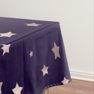 elegant rose gold stars on a purple background tablecloth