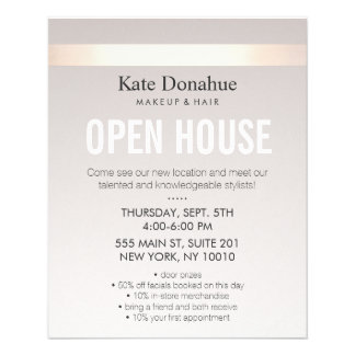 Elegant Rose Gold Striped Modern Open House 11.5 Cm X 14 Cm Flyer