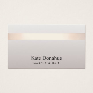 Elegant Rose Gold Striped Modern Stylish Taupe Business Card