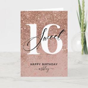 Elegant Rose Gold Sweet 16 Birthday Card