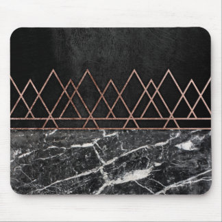 Elegant Rose Gold Triangles & Black & White Marble Mouse Mat
