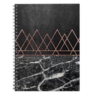 Elegant Rose Gold Triangles & Black & White Marble Notebooks