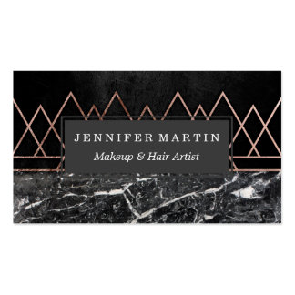 Elegant Rose Gold Triangles & Black & White Marble Pack Of Standard Business Cards