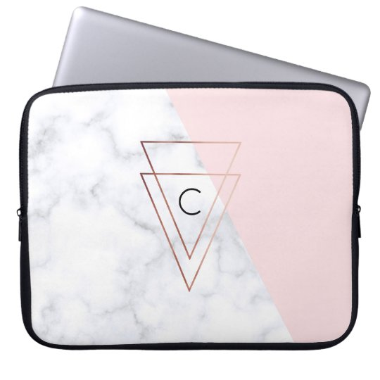 elegant rose gold triangles white marble pink laptop