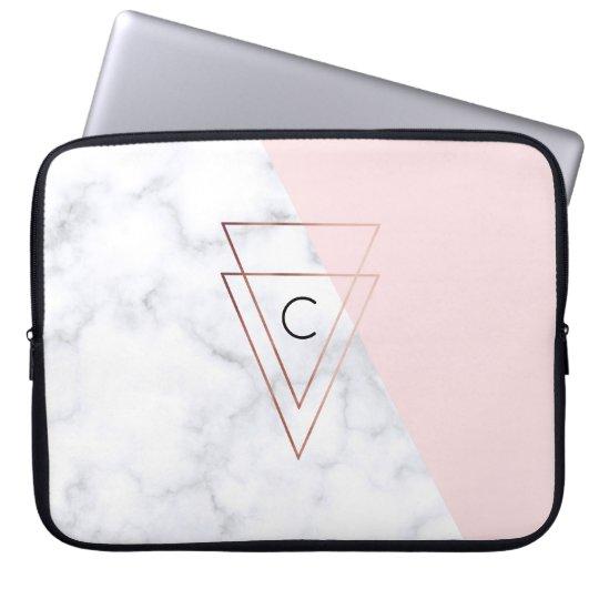 elegant rose gold triangles white marble pink laptop