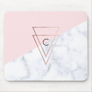 elegant rose gold triangles white marble pink mouse mat