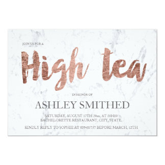Elegant rose gold typography marble high tea party card