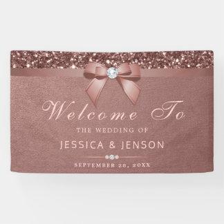 Elegant Rose Gold Wedding Diamonds Bow Glitter Banner