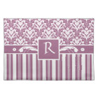 Elegant Rose Pink and White Art Deco Damask Floral Placemat
