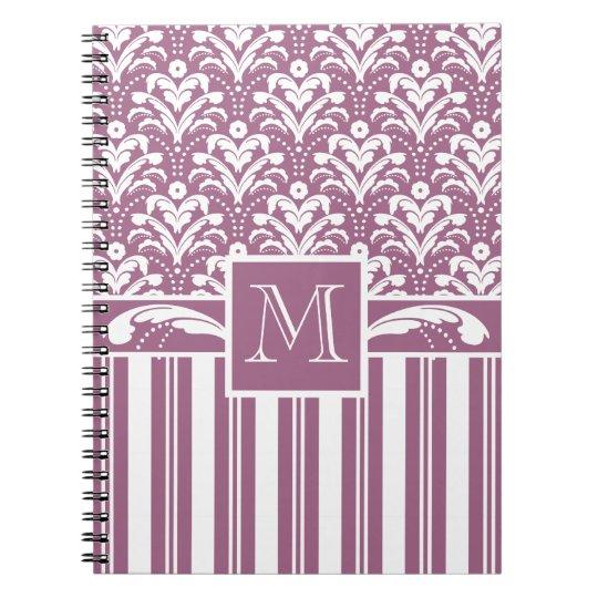 Elegant Rose Pink and White Art Deco Damask Floral Spiral Notebook