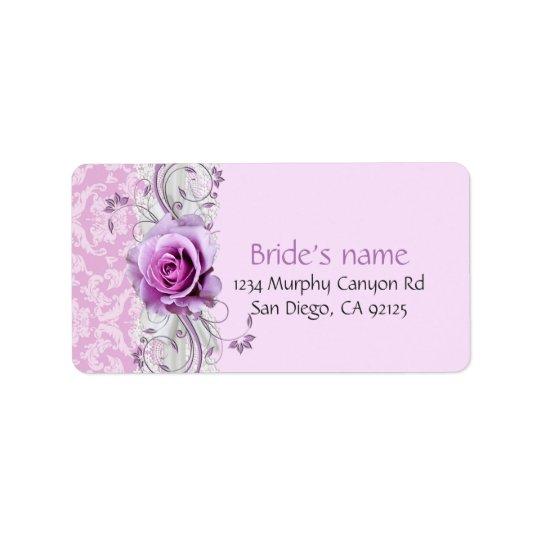 Elegant Rose Ribbon Lavender Damask Address Label