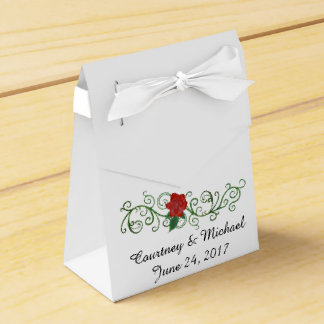 Elegant Rose Wedding Favor Box with Ribbon Party Favour Box