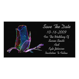 Elegant Rosebud Floral Wedding Save The Date Personalized Photo Card