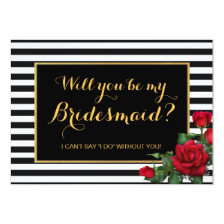Elegant Roses & Black Stripe Bridesmaid Invitation