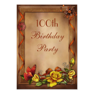 Elegant Roses & Butterfly 100th Birthday Party 13 Cm X 18 Cm Invitation Card
