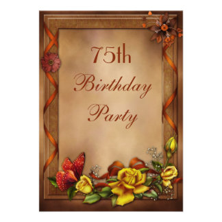 Elegant Roses Butterfly 75th Birthday Party Card