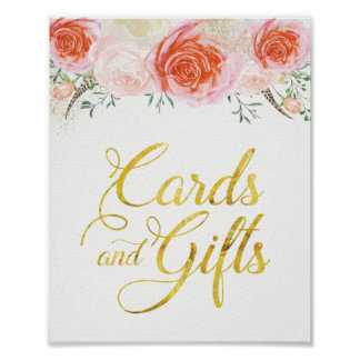 Elegant Roses Cards and Gifts Sign (8x10) Poster