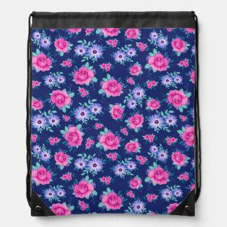 Elegant Roses Floral Pink Purple Blue Pattern Drawstring Bag