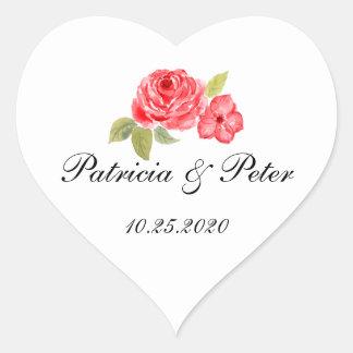 Elegant Roses On White Heart Seal Heart Sticker