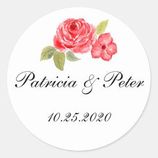 Elegant Roses On White Round Seal