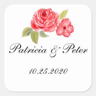 Elegant Roses On White Square Seal Square Sticker