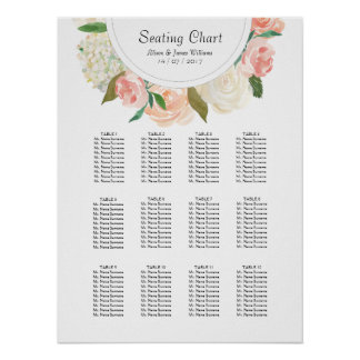 Elegant roses weddin dinner seating chart