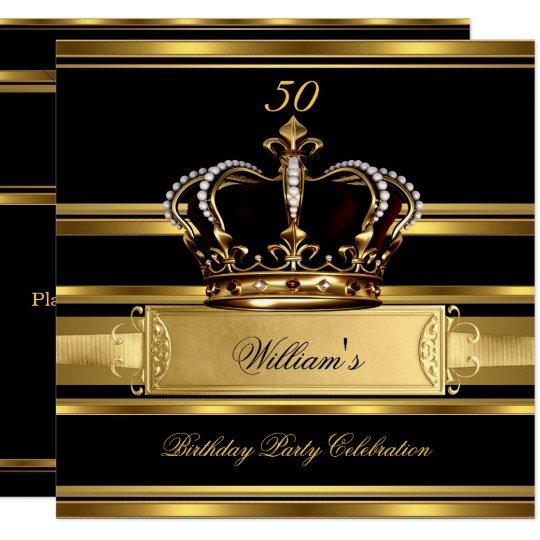 Elegant Royal Black Gold Birthday Prince King 2a Card