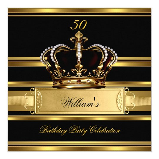 Elegant Royal Black Gold Birthday Prince King 2a Card