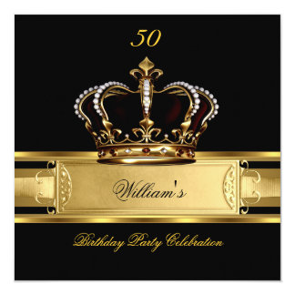 Elegant Royal Black Gold Birthday Prince King 3 13 Cm X 13 Cm Square Invitation Card