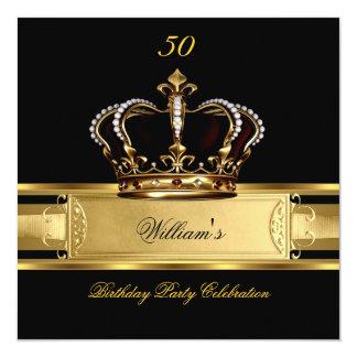 Elegant Royal Black Gold Birthday Prince King 3 Card