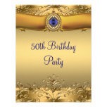 Elegant Royal Blue and Gold 50th Birthday Party Announcement