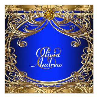 Elegant Royal Blue and Gold Wedding 13 Cm X 13 Cm Square Invitation Card