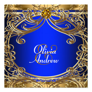 Elegant Royal Blue and Gold Wedding Announcements