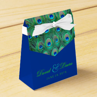 Elegant Royal Blue and Green Peacock Wedding Favour Box