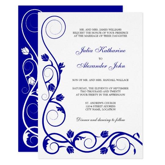 Elegant Royal Blue and White Swirls Card