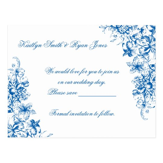 Elegant Royal Blue and White Toile Save the Date Postcard