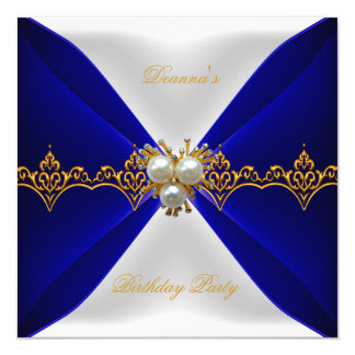 Elegant Royal Blue Birthday Gold Jewel White Silk Card