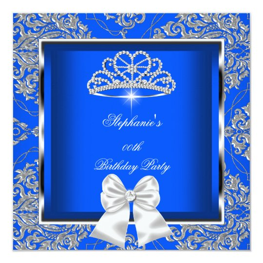 Elegant Royal Blue Damask Silver Birthday Party Card